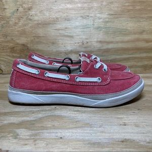 LL Bean Women's Red Salt Washed Canvas Boat Shoes